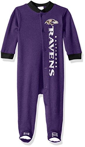 NFL Baltimore Ravens Logo Panel Snap Sleep 'N Play Sleepwear, 6-9 Months, (Baltimore Ravens Gift)