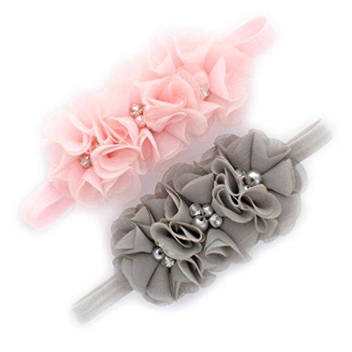 My Lello Infant Baby Flower Headbands Chiffon Fabric Beaded Trio 2-Pack (Light (Beaded Trio)
