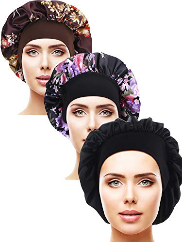 3 Pieces Satin Sleep Cap Elastic Wide Band Hat Night Sleeping Head Cover for Sleeping Supplies (Style Set 5, 3 Pieces)