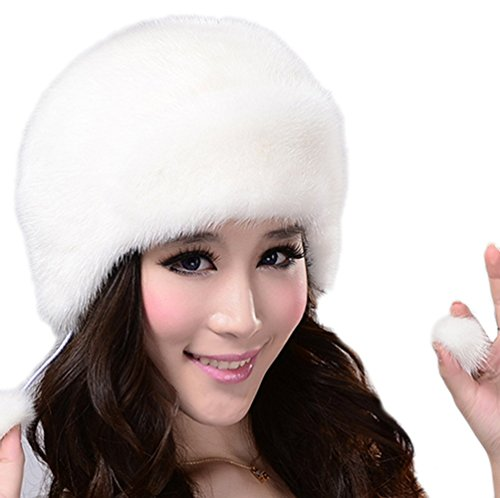 YR Lover Women's Warm Earmuffs The Whole Skin Mink Fur Beret Caps
