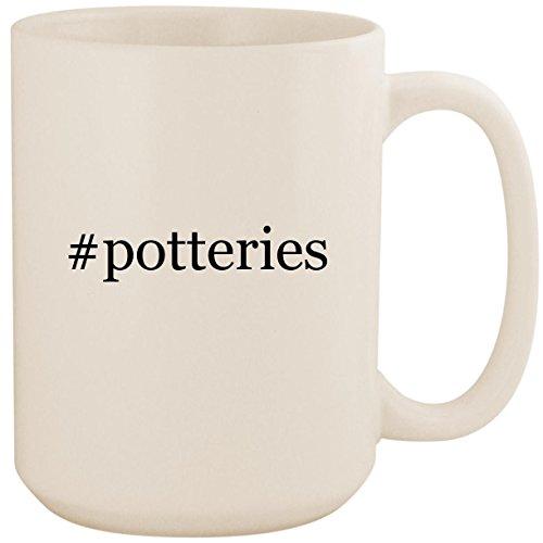 #potteries - White Hashtag 15oz Ceramic Coffee Mug Cup ()