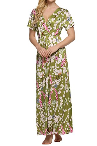 ACEVOG Womens Casual Short Sleeve Loose Flower Pattern Beach Full Length Dress