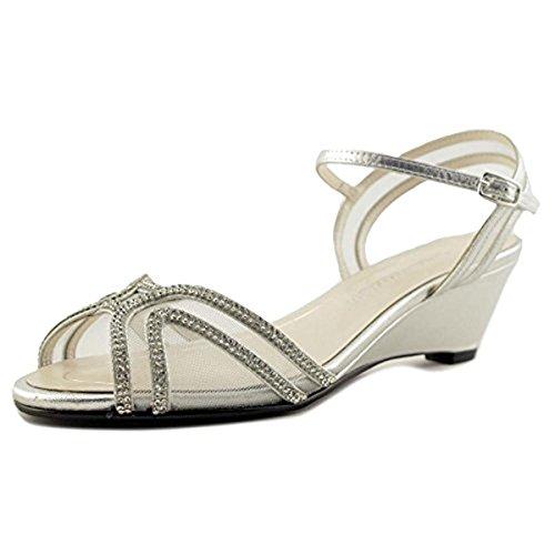 Caparros Hilton Low-Heel Dress Wedge Sandals - Silver Metallic, 7.5 US