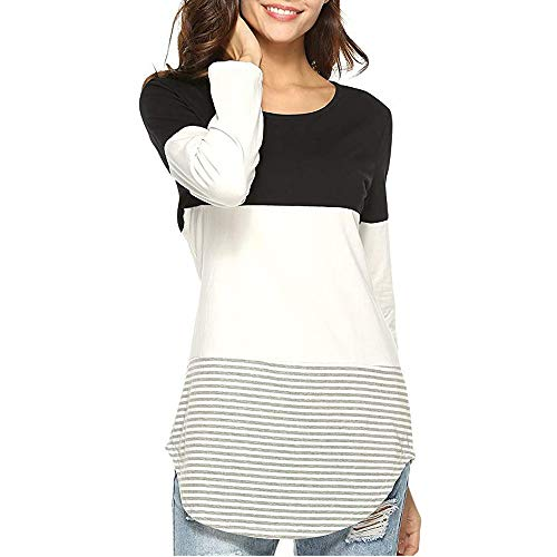 (lanWi Women Daily Casual Long Sleeve Striped Tricolor Patchwork Stretchy Tops Long T-Shirt)
