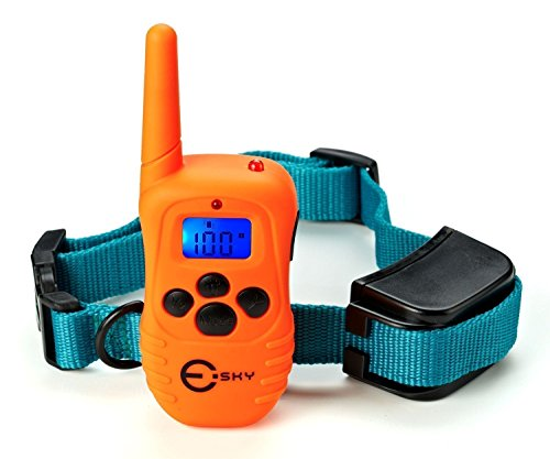 Esky Dog Training Collar Rainproof Rechargeable LCD Shock Collar, 100 Level Vibration Static Shock by Esky