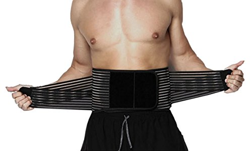 Stabilizing Lumbar Back Brace and Support Belt with Dual Adjustable Straps and Breathable Mesh Panels for Treatment of Sciatica, Scoliosis, Herniated Disc or Degenerative Disc Disease(L) (Best Treatment For Lumbar Herniated Disc)