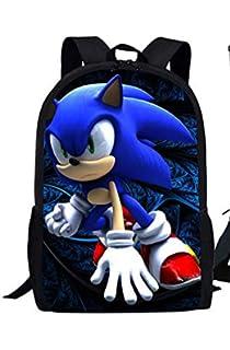 Sonic the Hedgehog Backpack para Ni/ños Unisex de Dibujos Animados de Poli/éster Bolsa de Deporte Impermeable Bolsa de Gimnasio Mochila para Mujer