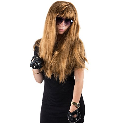 Movie Costume Heavy Metal (80's Costume - 3 Pc. 90's Rocker Wig, Rockstar Costume Adults - Heavy Metal Rocker Costume by)