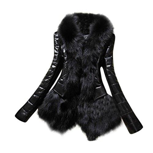 Internet Las nuevas mujeres del diseñador abrigan el abrigo grueso del cuero de la piel de la capa gruesa del abrigo de la chaqueta de cuero Negro