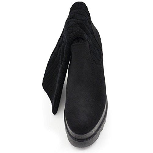 N.36-40 stivali stivaletti da donna polpaccio lana zeppa A0217 nero