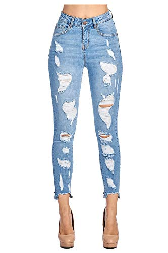 a075df56ec5 TwiinSisters Women s High Rise Stretch Destroyed Ripped Color Skinny Pants  Jeans Multi Styles