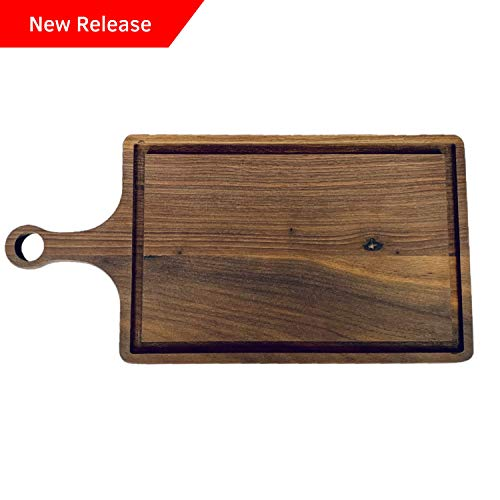 Walnut American Handle (Accented Kitchen American Walnut Wood Cutting Board with Handle and Juice Groove For Chopping, Carving, and Serving - 16x8)