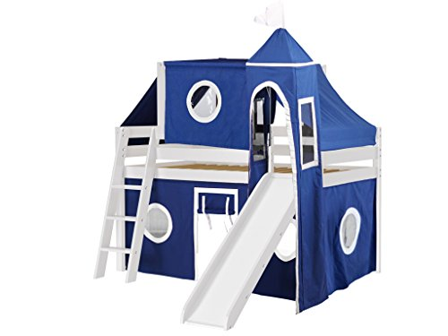 Jackpot Castle Low Loft White Bed with Slide, Blue and White Tent and (Low Loft Castle)