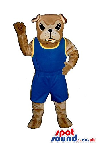 [Angry Brown Bulldog SPOTSOUND US Mascot Costume Wearing Blue And Yellow Sports Clothes] (Blue Bull Mascot Costume)