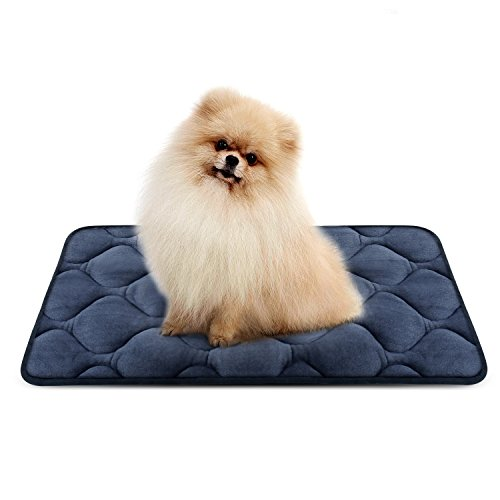 Dog Bed Mat Washable - Soft Fleece Crate Pad - Anti-slip Matress for Small Medium Large Pets (Grey S) by HeroDog