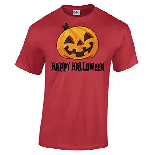 Happy Halloween Smiling Pumpking Face Scary Funny Costume Gift Jacko Mens T-Shirt (Funny College Halloween Costume Ideas Men)