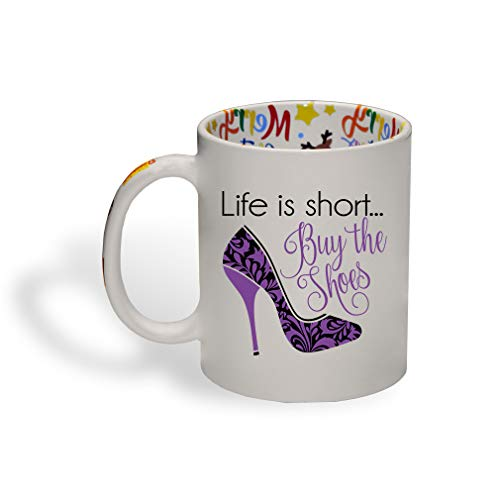 Style In Print Life is Short… Buy The Shoes Ceramic Christmas Coffee Mug Xmas Tea Cup 11 Oz