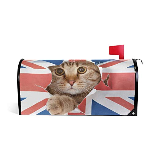 Mailboxcoverfhiw Cat Magnetic Mailbox Cover, Cute Kitten Cat with Union Jack Flag Mailbox Wrap Home Decorative for Large Size 6.5