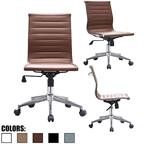 2xhome Modern Mid Back Office Chair Armless Ribbed PU Leather Swivel Tilt Adjustable Chair Designer Boss Executive Management Manager Office Conference Room Work Task Computer Brown