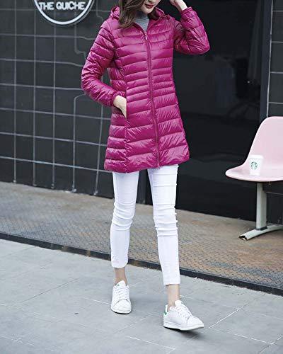 Donna Fit Giacche Lunga Autunno Media E Larga Cappuccio Inverno Taglia Sottile Leggero Rossa Slim Sezione Rosa Piumini qPYPrXw