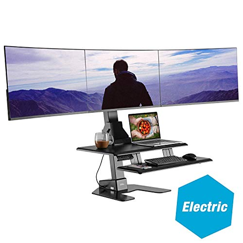 """AVLT-Power Triple 32"""" Monitor Electric Standing Desk Extra Large 28""""x"""
