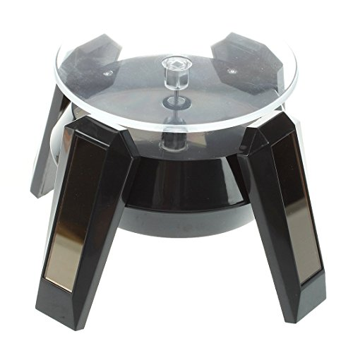 SODIAL(R) Black Solar Powered Jewelry Phone Watch 360¡ã Rotating Display Stand Turn Table with LED Light ()