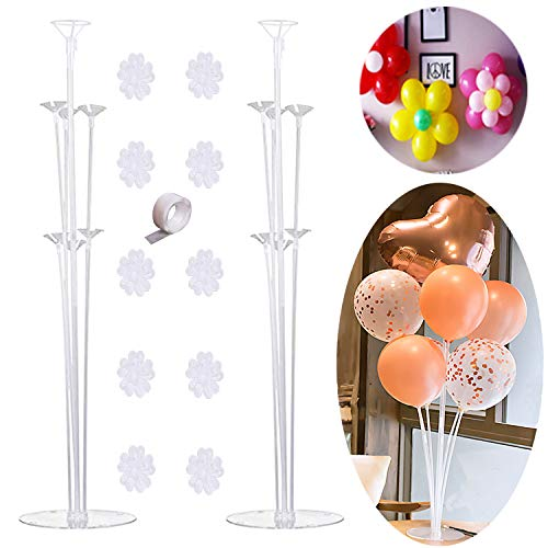 DIY Table Balloon Stand Kit - 2 Sets,Reusable Clear Balloon Holder(7 Balloon Sticks,7 Cups,1 Base) with 10 Balloon Clips,1 Roll of Stick Dots for Birthday Party,Wedding,Any Party Decorations