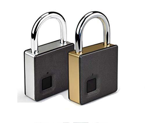 STRIDCJX Smart Fingerprint Padlock Stainless Steel Biometric Portable Outdoor Padlock inteligente Fipilock dustproof, Waterproof Lock,Silver