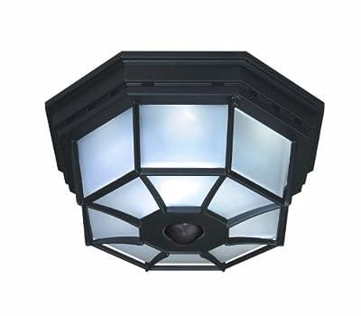 Heath/Zenith SL-4300-BK-B 360-Degree Motion-Activated Octagonal Ceiling Light, Black