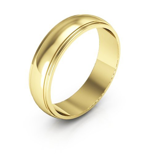 10K Yellow Gold men's and women's plain wedding bands 5mm half round edge, 11 by i Wedding Band