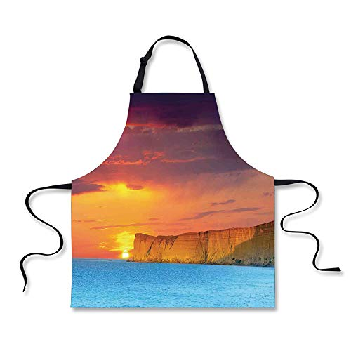 Cooking Apron,Ocean Decor,Dramatic Seascape Summer Sunset wi