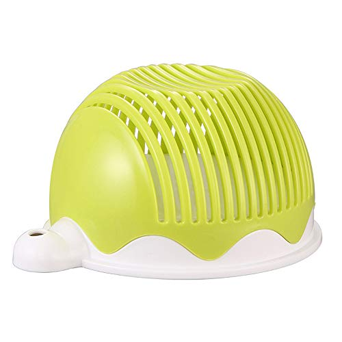 (Salad Cutter Bowl - Upgraded 60 Second Salad Maker with Salad Bowl, Fast Vegetable Cutter for Making Fresh Salad, Thick & Durable, BPA free, Light Green)