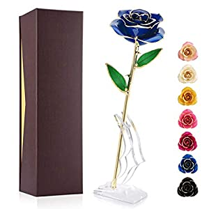 Ejoyous 24K Gold Plated Rose, Gold Dipped Real Rose Flower Gift for Lover Mom Wife Daughter Girlfriend, Present on Valentines Day, Wedding Anniversary, Birthday, Proposal, Reward (Blue with Stand)