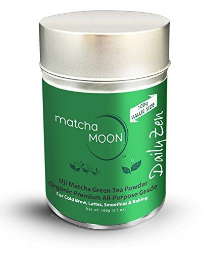 Matcha Green Tea Powder Organic - Japanese Premium Culinary Grade - Uji, Kyoto Japan - Better Energy Than Coffee - Best for Lattes, Cold Brew, Smoothies, Baking - Matcha Moon - Value Size 100g Tin