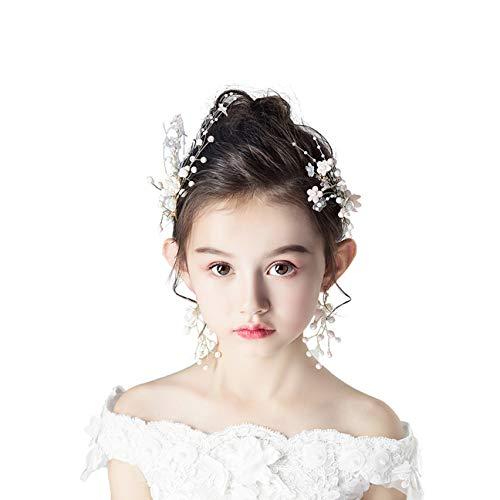 DONGYUER Child Head Flower Girl Flower Headwear Accessories Girl Pink Hair Clip Wreath Princess Flower Girl Wedding Show Hair -