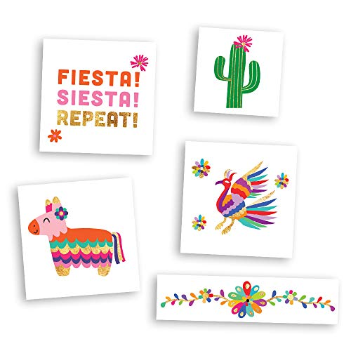 FIESTA FUN VARIETY SET set of 25 assorted premium waterproof colorful metallic gold jewelry temporary foil party Flash Tattoos - temporary tattoo, Flash Tat, fiesta, cinco de mayo, pinata, cactus