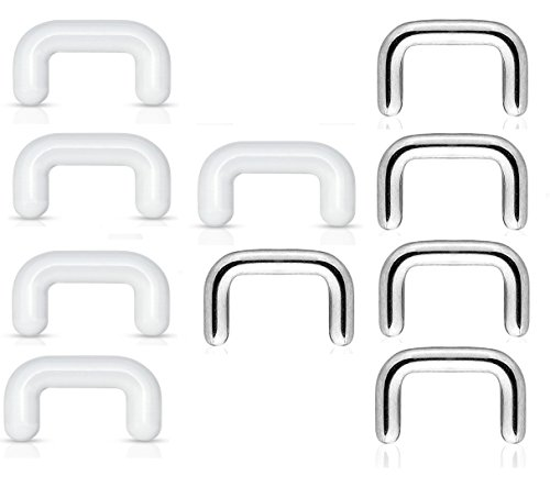 Pierced Owl Set of 10 Septum Ring Retainers in 316L Stainless Steel and Clear Acrylic (16GA (1.2mm))