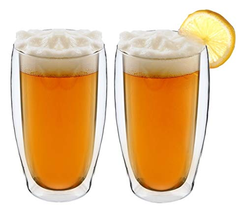 (TRANSTONE 15oz Set Of 2 Double Wall Insulated Beer Glass Mugs set,Tea Mugs,Torino Collection,Clear Mugs,Glass Espresso Mugs, Gass Latte Cups, Glass Cappuccino Cups Include A Wooden)
