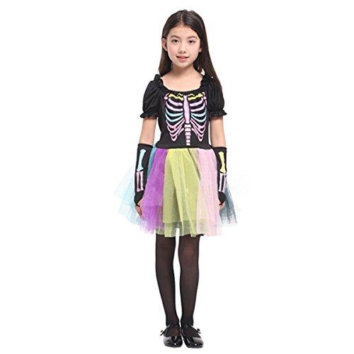 Bebone Halloween Skeleton Print Girl Tutu Short Sleeve Dress With Gloves(7T) -