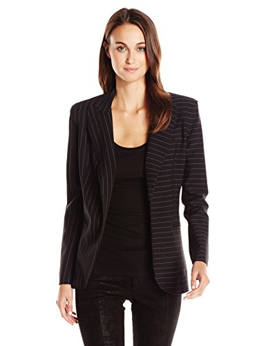 Norma Kamali Women's Single Breasted Jacket Bonded, Black Pinstripe, 0