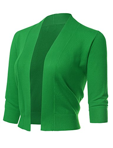 ARC Studio Women's Classic 3/4 Sleeve Open Front Cropped Cardigans (S-XL) M AppleGreen