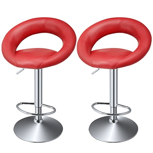 Cheesea 3 Colors Fashion Synthetic PU Leather Adjustable Oval Bar Stool Dining Chair, European Style High Bar Hydraulic Counter Stools 2pcs (wine red)