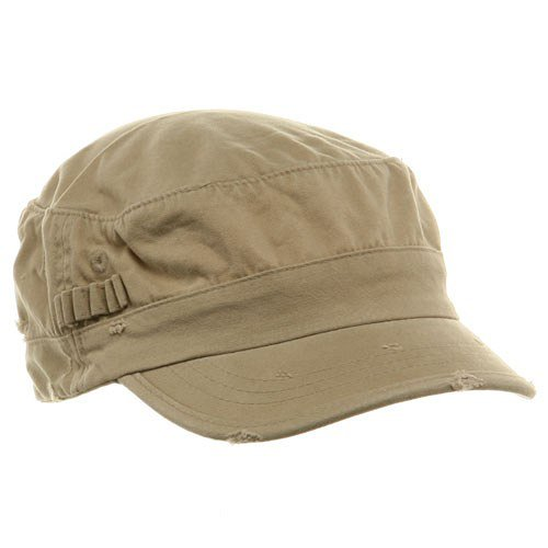 Washed Cotton Fitted Army Cap-Khaki W32S34E, - Fitted Cap Cotton Washed Army