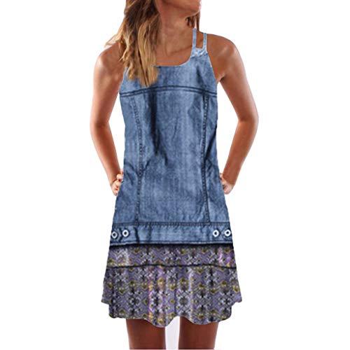 LINKIOM Skirts for Women Long Length, Vintage Boho Mini Dress Women Summer Sleeveless Beach Printed Short Skirt(Large,Blue)