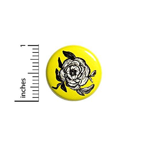 Rose Button Vintage Style Black White Yellow Pretty Cool Rad Love Pin 1