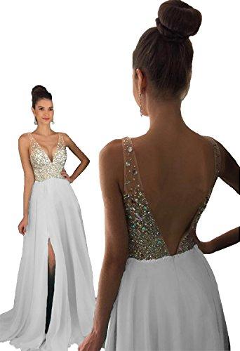 HEAR Women's V Neck Long Prom Dresses Backless Party Evening Dress Hear051 White 18 (White Beaded Dresses)