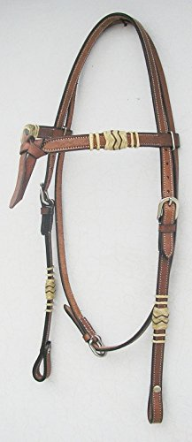 - GSk Reitsports New Western Oil Pull Up Leather Headstall Rawhide Futurity Knotted Browband Headstall Light Brown