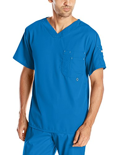 Grey's Anatomy Men's Modern Fit V-Neck Scrub Top, New Royal, Large