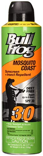 Bull Frog Pack of 4 Bullfrog Mosquito Coast Spray Sunscreen Insect Repellent SPF 30 6 oz, 4 Pack
