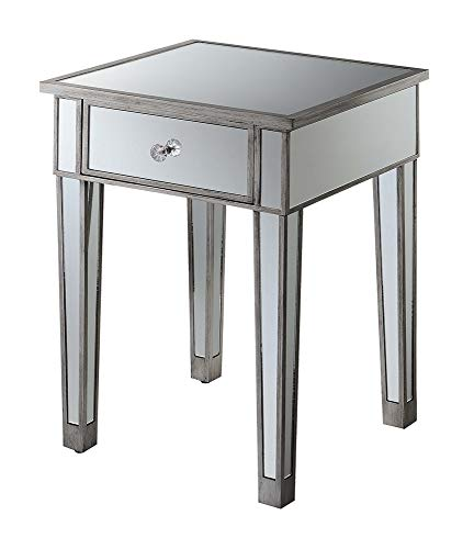 Convenience Concepts Gold Coast End Table with Drawer, Antique Silver/Mirror